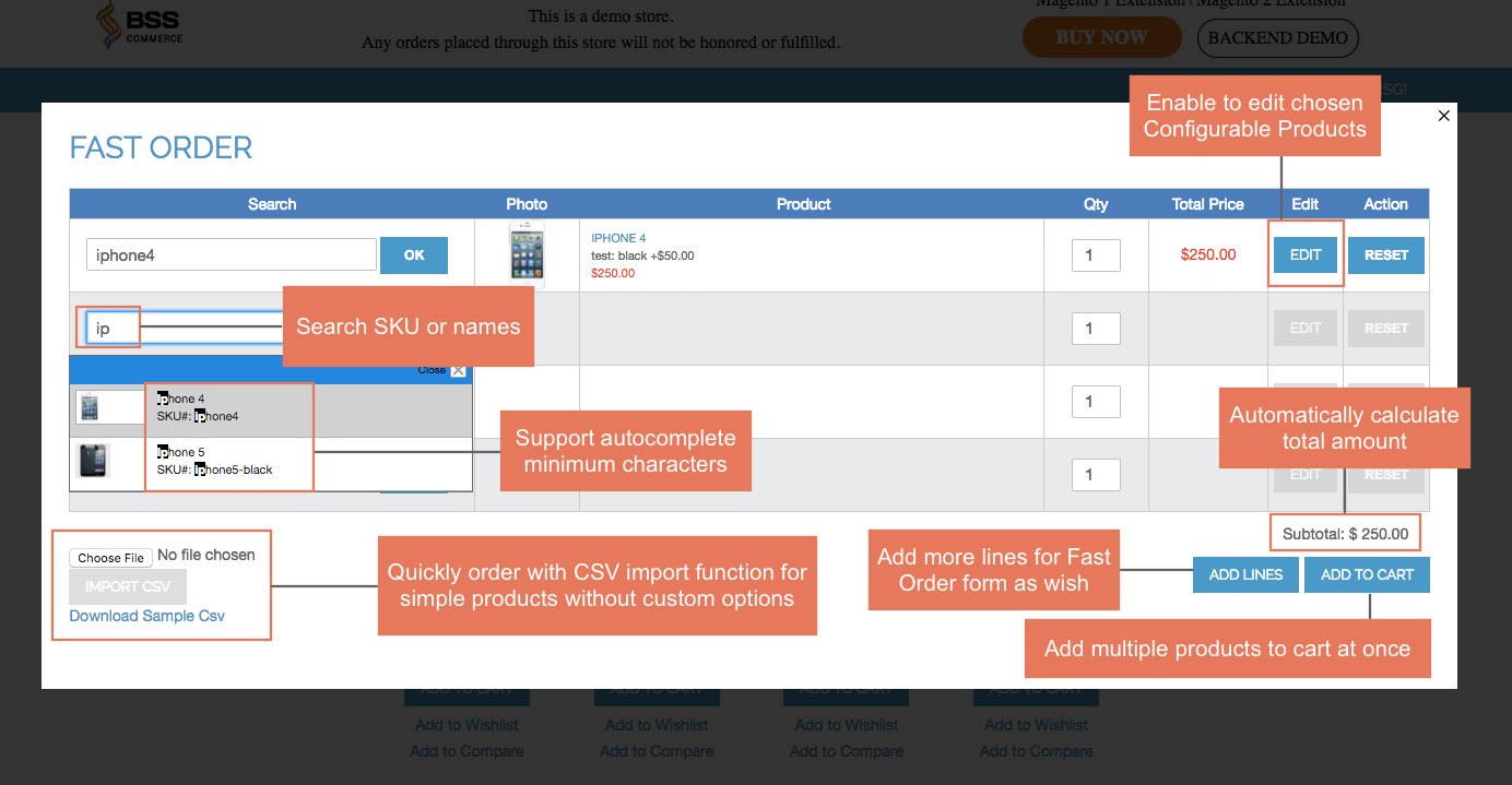 Quick Order Magento 2 extension