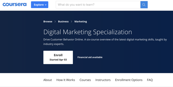 Coursera Digital Marketing Courses